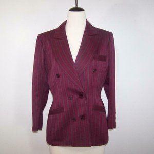 Vintage Saint Laurent Blazer Jacket Rive Gauche France Sz 42 Purple Gray Striped